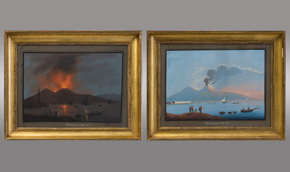 Guaches Napolitanos <br/> ''Eruzione 8 de Febrero de 1850''<br/> Siglo XIX