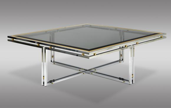 Mesa de sofá<br/> en acero, bronce y cristal