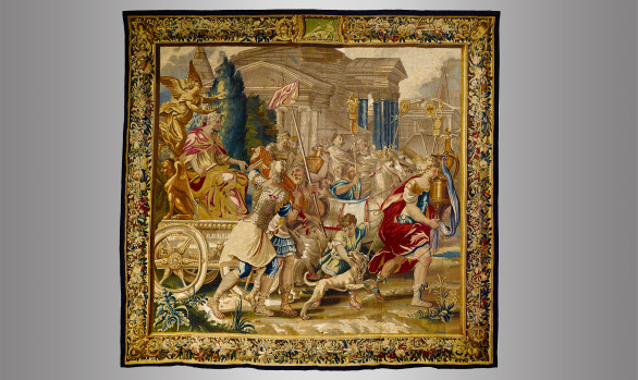 Tapiz de Bruselas en lana y seda<br/>Hacia 1700