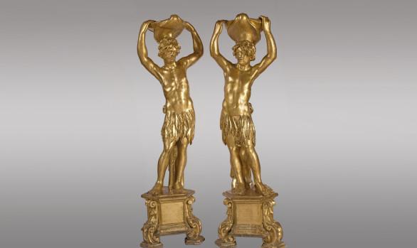 Esculturas en madera dorada Venecianas<br/>Principios del Siglo XVIII