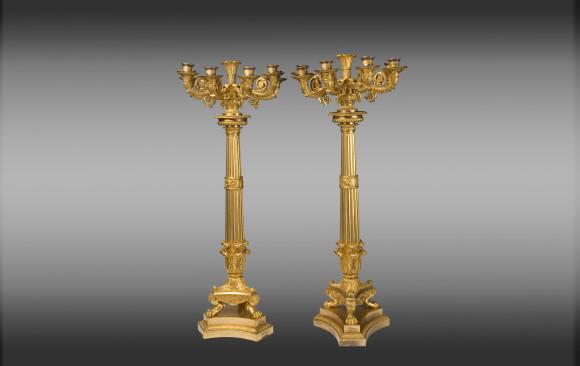 Candelabros en bronce dorado grandes<br/>Época Imperio
