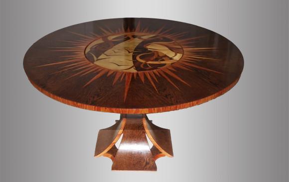 Mesa en madera de palma y palorosa<br/>Pieza única