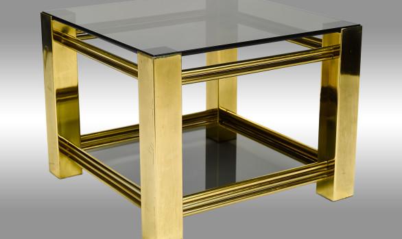 Mesa auxiliar <br/>en bronce y cristal ahumado