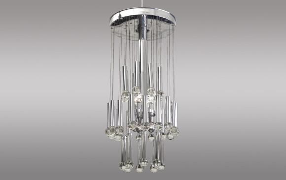 Lámpara de techo en metal y cristal<br/>Hacia 1960