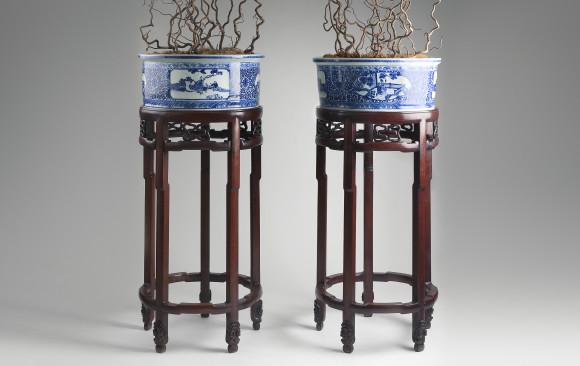 Excepcional pareja de Jardineras Chinas<br/>Hacia 1900