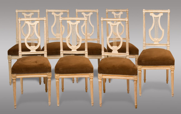 Eigth Louis XVI Painted Chairs<br/>18th. Century