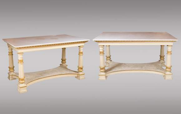 Two painted and guilded Center Tables <br/>Nineteenth Century