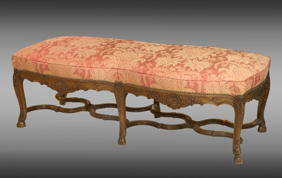 A large carved walnut Stool <br/>Nineteenth Century