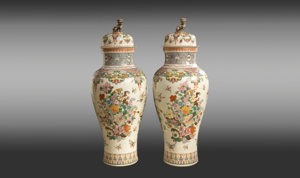 Samson Porcelain Vases and Covers<br/>Late Nineteenth Century