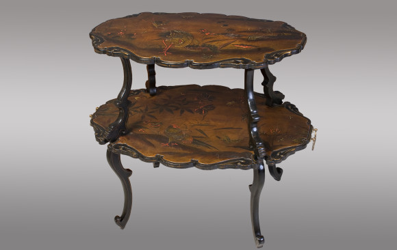 French lacquered two-tier Table<br/>About 1880