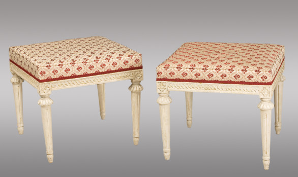 Pair of carved wood Swedish Stools<br/> 18th. Century