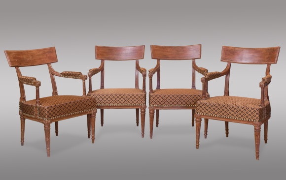 A fine and rare painted set of four<br/> Louis XVI period Fauteuils<br/> Circa 1790
