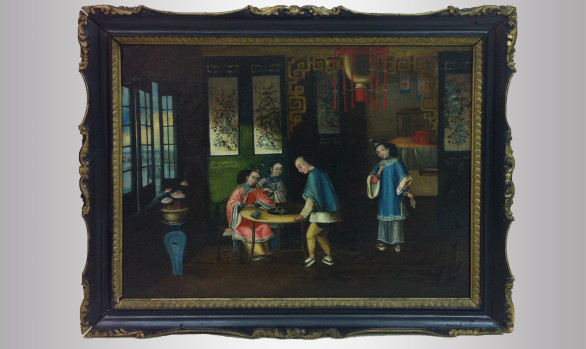 ''Fight of birds'' Chinese interior scene<br/>Nineteenth Century