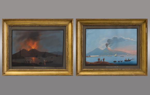 Pair of Neapolitan Gouache <br/>''Eruzione 8 de Febrero de 1850''<br/>19th. Century