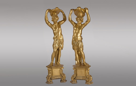 Fine pair <br/>of Venetian Figures in guiltwood <br/> Circa 1700