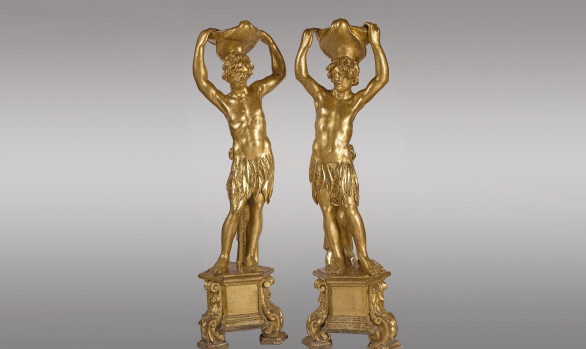 Fine pair <br/>of Venetian Figures in giltwood <br/> Circa 1700