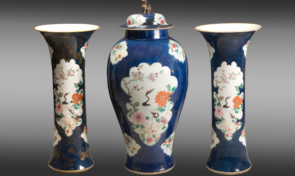 Set of two Trumpet Vases and <br/>one Covered Jar<br/>Kieng Lung Period (1735-1795)