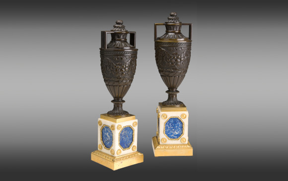 Pair of patinated and gilded Bronze Baltics<br/>Empire Period