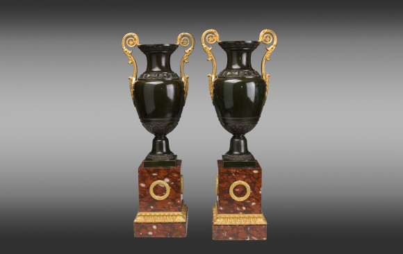 Pair of French Restoration Urns <br/>19th. Century