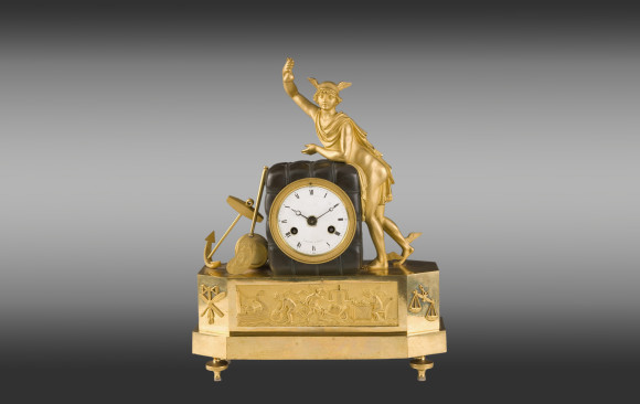 French gilded desk Clock<br/>Directoire Period