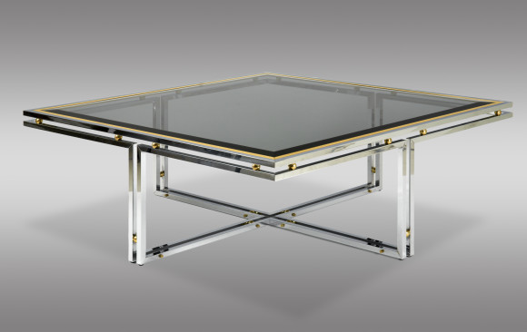 Cocktail Table <br/>steel, bronze and glass