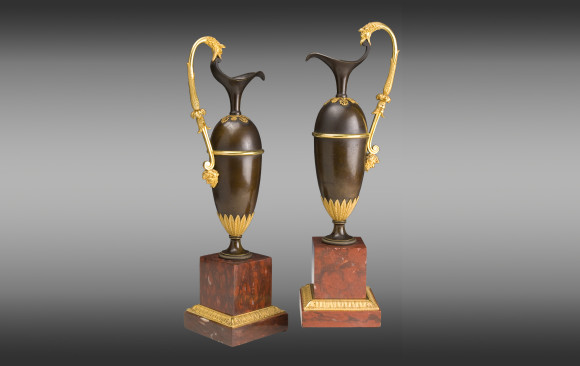 French pair of Jars<br/> in gilded and patinated bronze  <br/>on a marble base red Campan