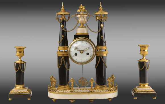 Gilt bronze marble Clock and Candlesticks<br/>Louis XVI Period