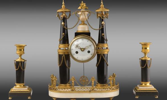 Gilt bronze marble Clock and Candlesticks<br/>Louis XVI Period
