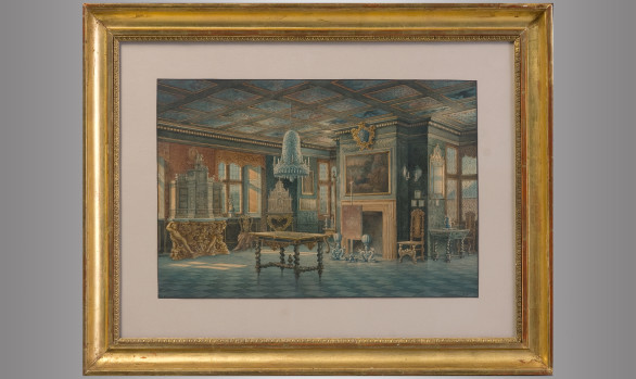 Two Watercolours<br/> ''Interior views of Rosenborg'' Copenhaguen <br/>Signed: Carl Neumann (1833-1891)