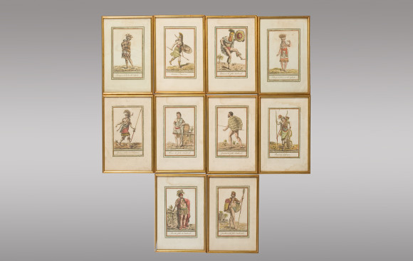 Ten colored Engravings <br/>Signed by <br/> Jacques Grasset Saint-Sauveur 1796