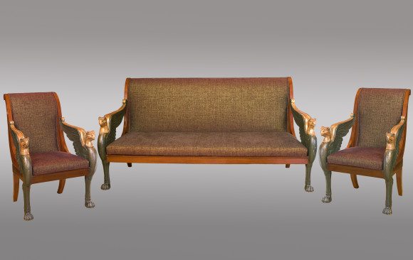 Two Armchairs and Settee of French<br/> Empire Period