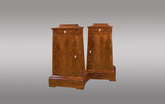 Danish Mahogany Cabinets<br/>  of trapezoidal shape <br/> Nineteenth Century
