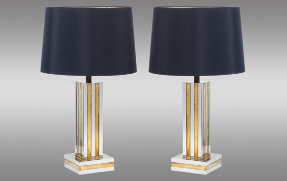 Italian pair of Table Lamps<br/> in brass and steel