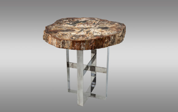 Cocktail Table with Fossil top<br/> on steel base<br/> Prehistoric Period