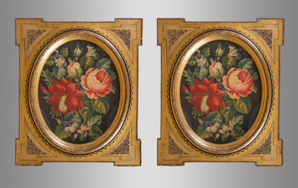 Two Framed Tapestries with floral motifs<br/> Nineteenth Century