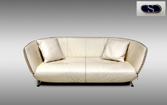 Two ivory leather de Sede Sofas<br/> 1980