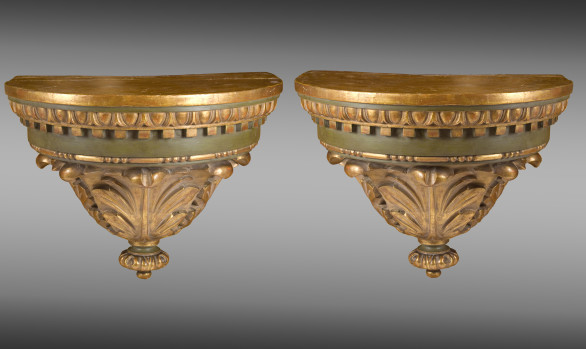 Pair of wall Brackets<br/>painted and gilded wood<br/>Nineteenth Century
