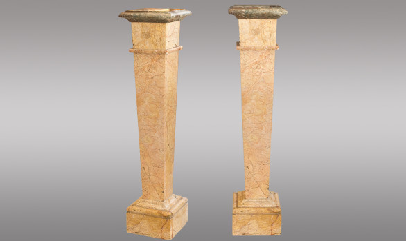 Pair of marble Plynths <br/>in ''Rose de Brignoles''<br/>Early Twentieth Century