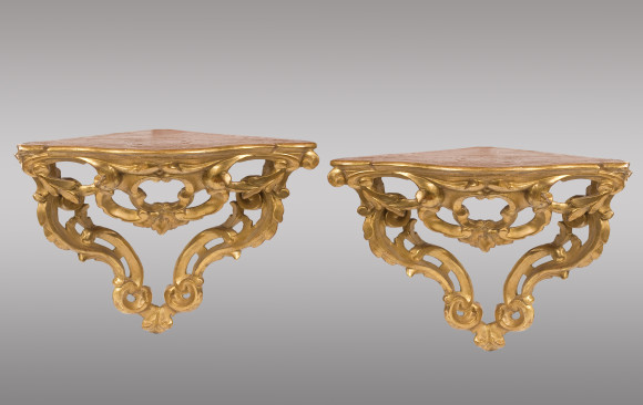 Two Spanish Corner Brackets<br/> in gilded wood<br/>Eighteenth Century