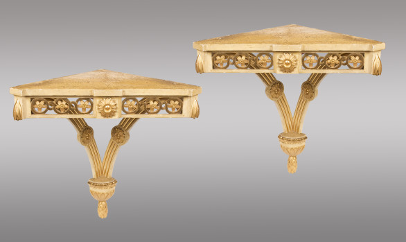 Two Spanish Corner Brackets<br/>painted and gilded  <br/>Early Nineteenth Century