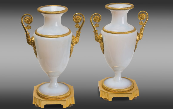 French white Opaline Vases<br/>with gilt bronze mounts <br/> Charles X Period