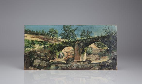 ''Los ojos del puente''<br/>Óleo sobre tabla Escuela Española<br/> Siglo XIX
