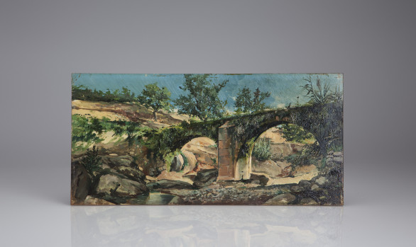 ''Brigde eyes''<br/> Oil on panel Spanish School<br/> Nineteenth Century