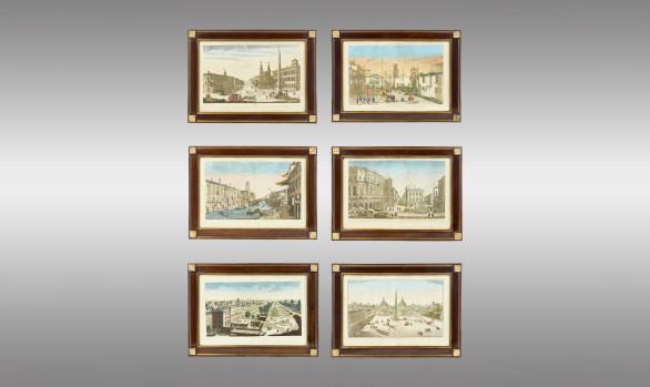 Seis Grabados<br/>  ''Vistas ópticas de Roma y Venecia''<br/>  Siglo XVIII