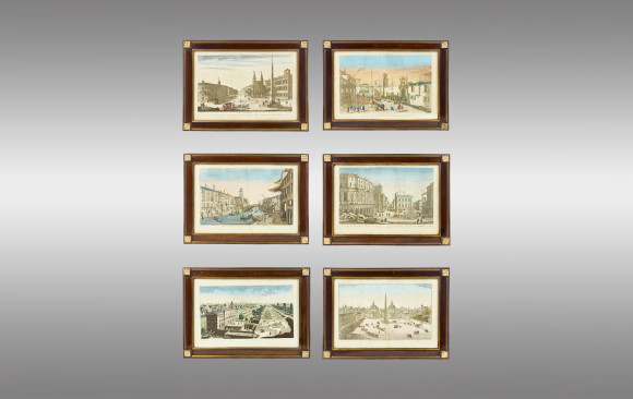 Six Engravings  <br/> ''Views of Venice and Rome''<br/> 18th. Century