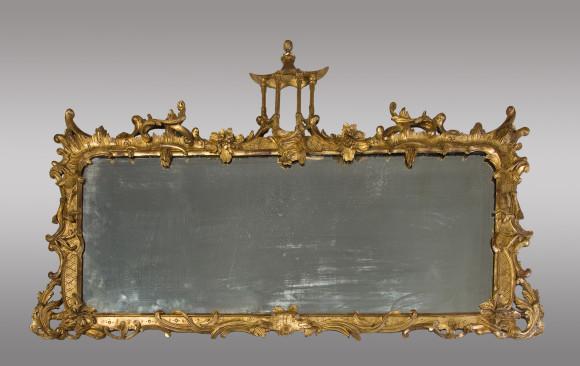 Original Espejo de Estilo Chippendale<br/> para chimenea <br/> Siglo XIX