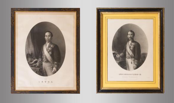 Dos Grabados<br/> Okubo Tosimichi (1830-1878)<br/>y<br/>Sanjō Sanetomi (1837-1891)<br/>Siglo XIX