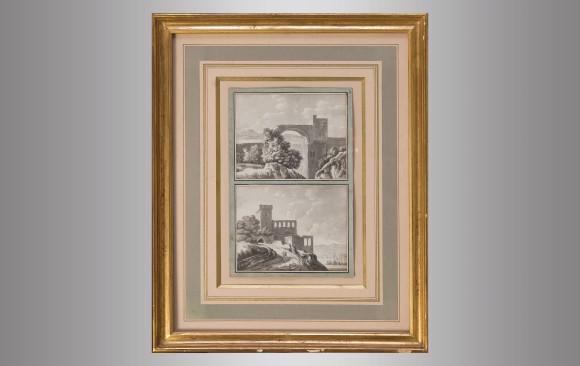 Dos parejas de Dibujos Italianos a lápiz<br/> Siglo XIX
