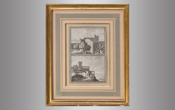 Four Italian Drawings <br/>in charcoal landscapes<br/> Nineteenth Century