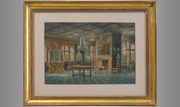 Pareja de Acuarelas<br/>  ''Interiores del Palacio de Rosenborg'' Copenhague<br/> Carl Neumann (1833-1891)